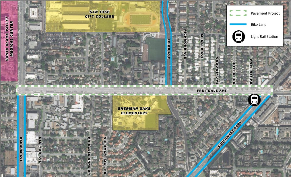 Map showing Fruitdale Avenue project area.