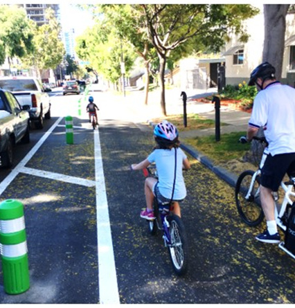 Family riding happy and safe in a bike lane