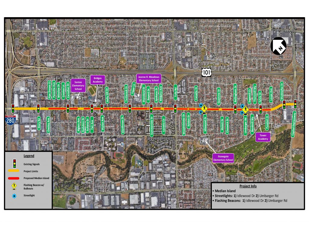 Map for the McLaughlin Avenue Safety Enhancement Project