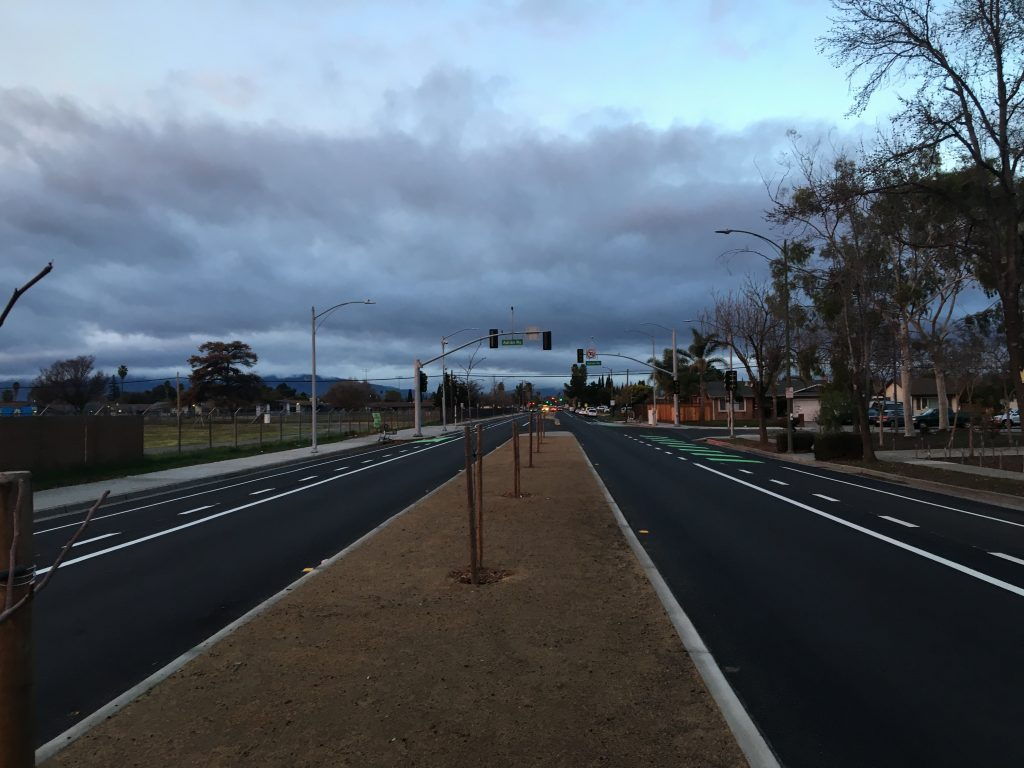 Raised median islands will be installed along the corridor to help calm traffic speeds. Photo taken along Ocala Ave., San Jose.