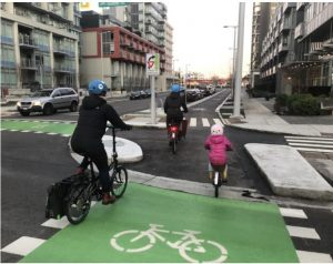 An example of separated bike lanes.