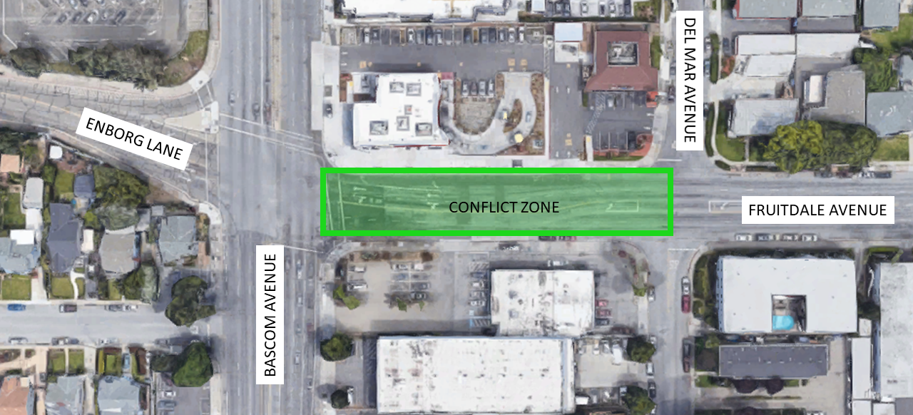 Location of design conflict on Fruitdale Ave