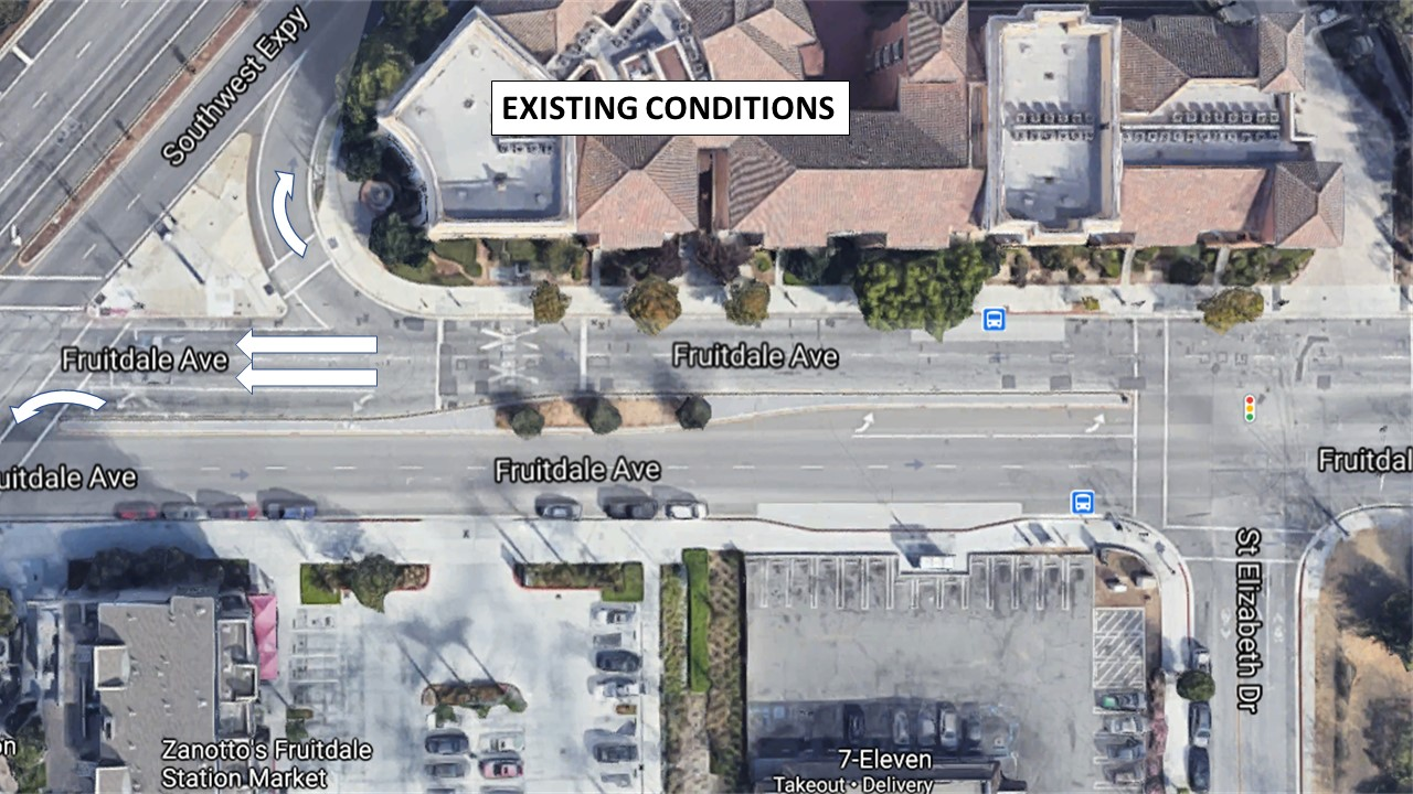 Existing conditions on Fruitdale east of Southwest Expy