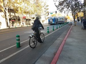Shows an example of a protected bikeway